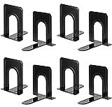 Sujetalibros de servicio pesado para estantes, base antideslizante, negro, ideal para biblioteca, oficina, hogar, escuela, 4 pares